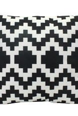 Outdoor cushion with black and white print