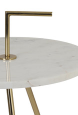 Round white marble side table