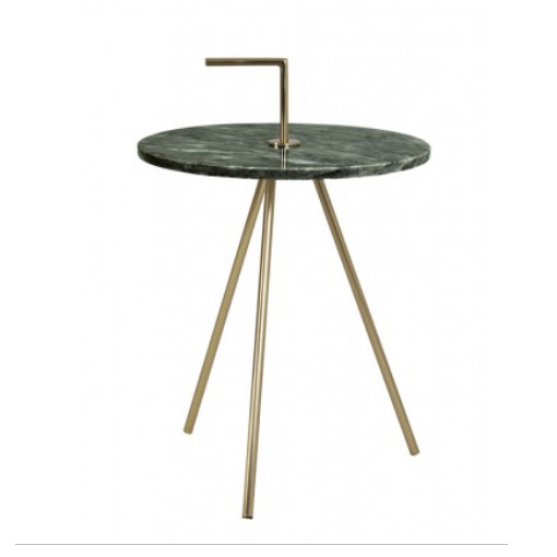 Round green marble side table