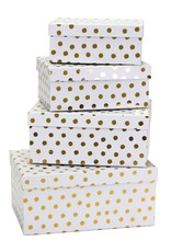 Paper box set of 4 with gold dots