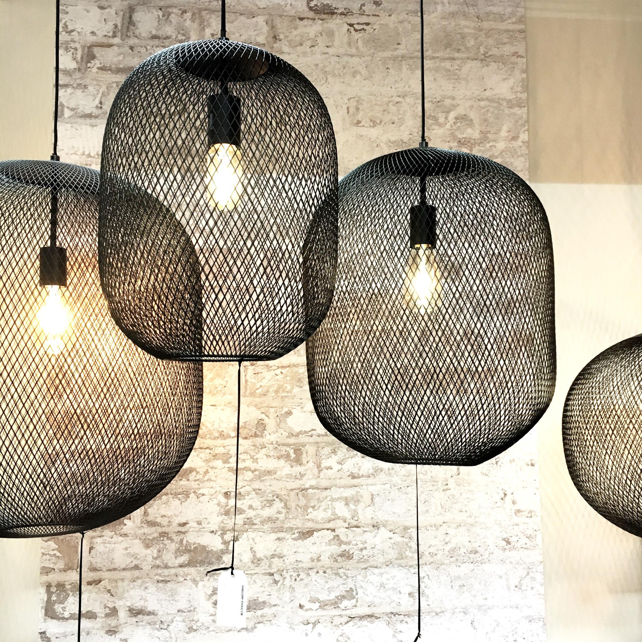"""Design hanglamp van zwart metaal gaas """"Kato"""""""