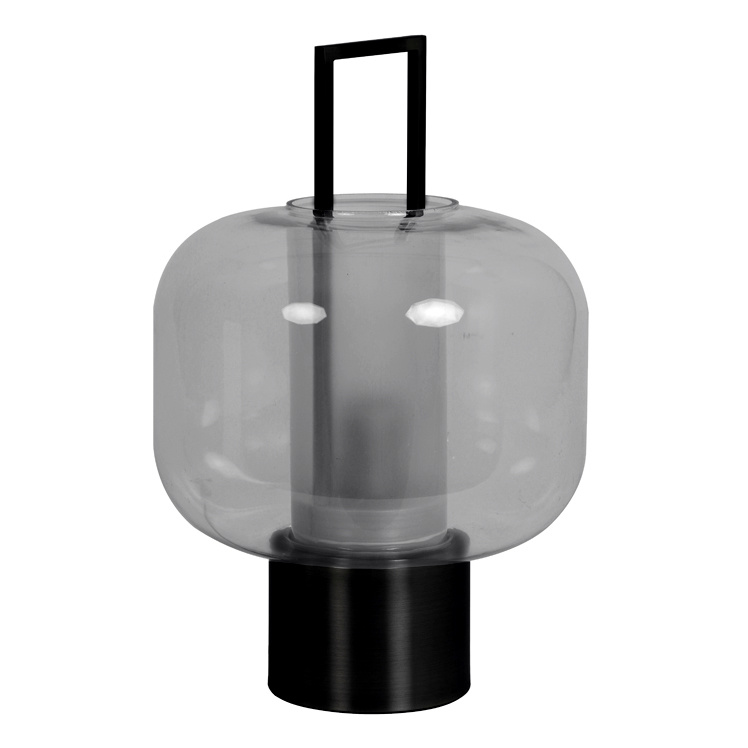 "Modern smoked glass table lamp ""Nanto"""