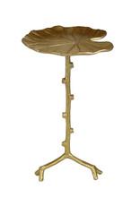 Gold metal monstera leaf side table