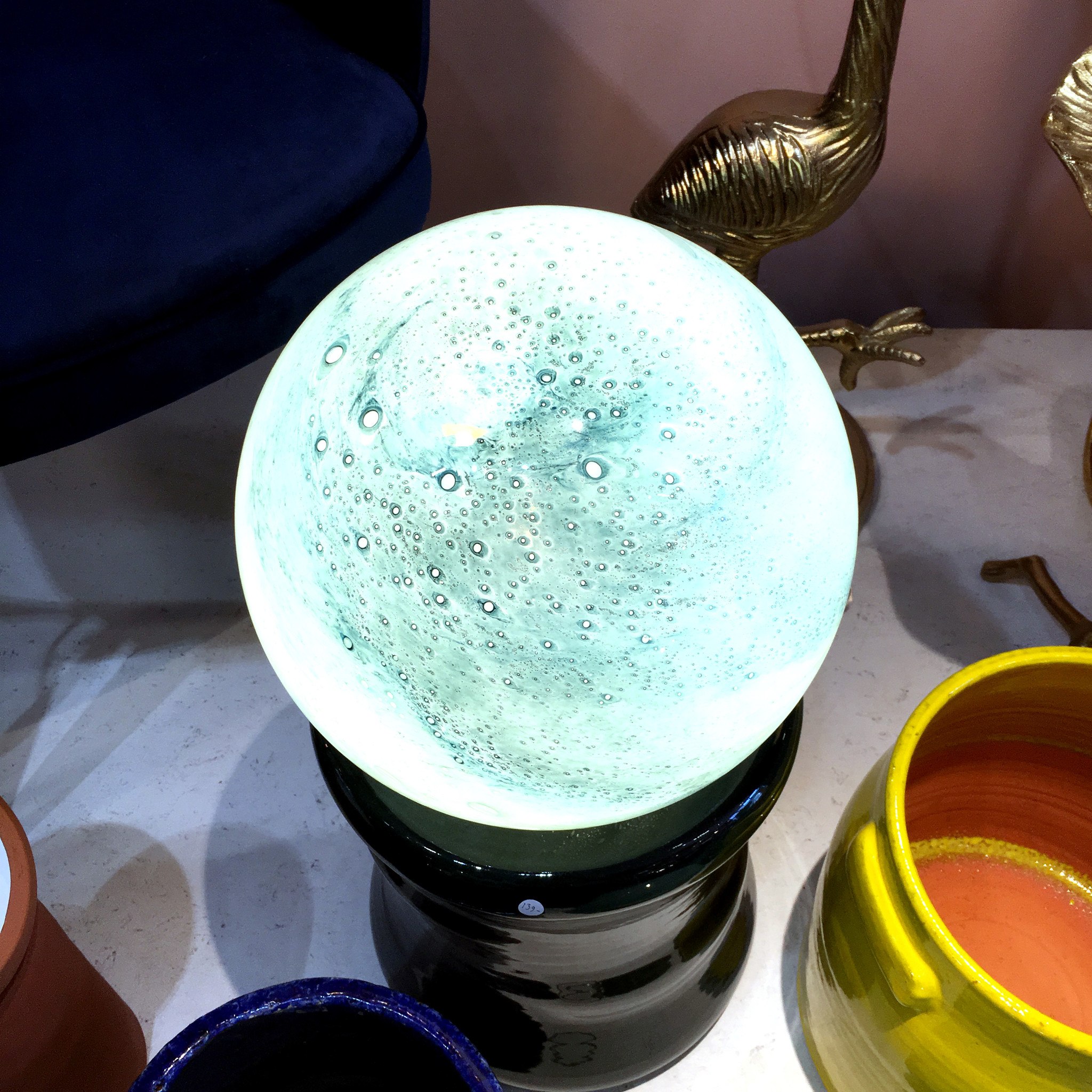 """Colored glass globe table lamp """"Moon"""""""