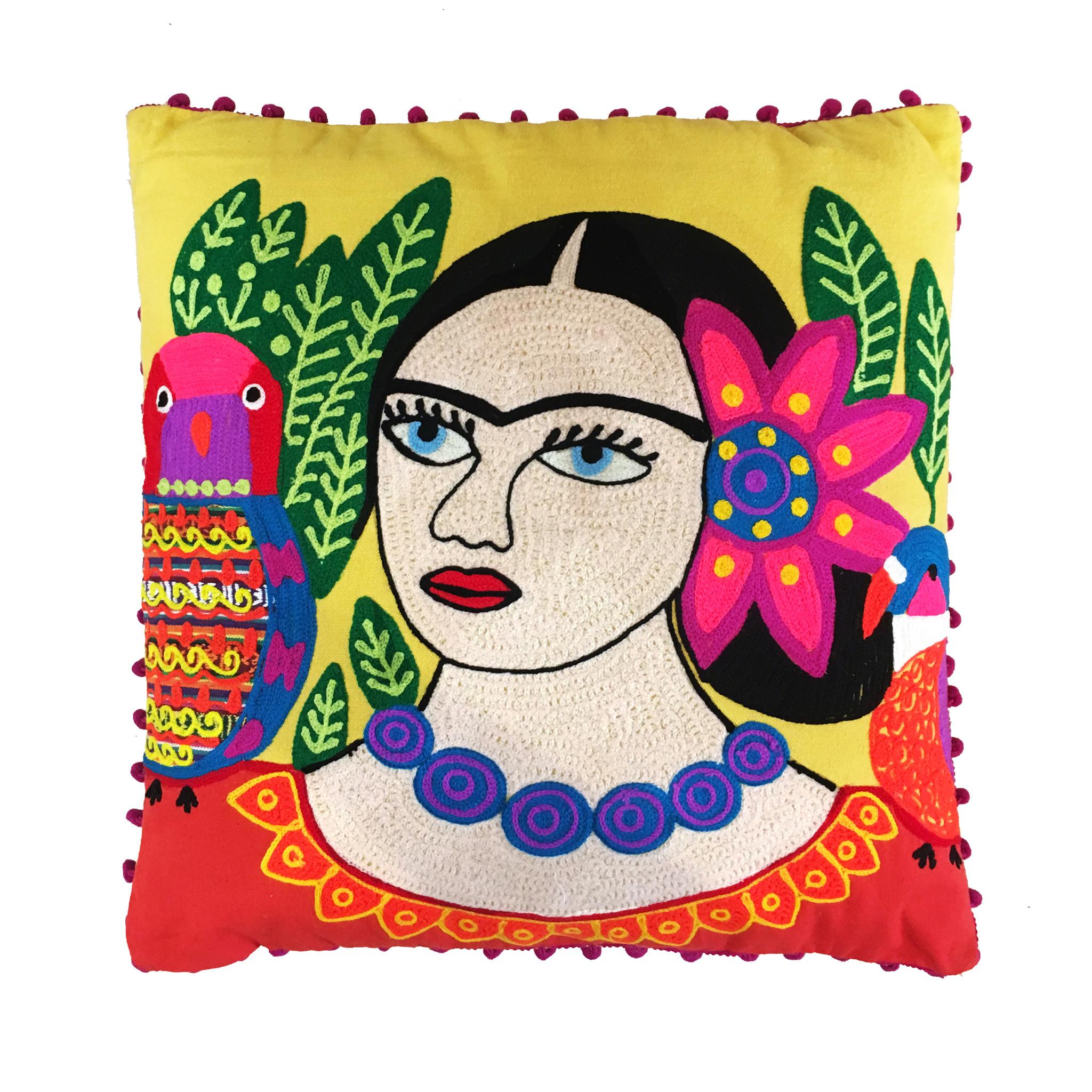 Yellow cushion with Frida Kahlo