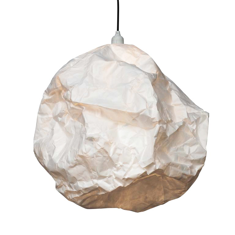 Crumpled paper pendant light