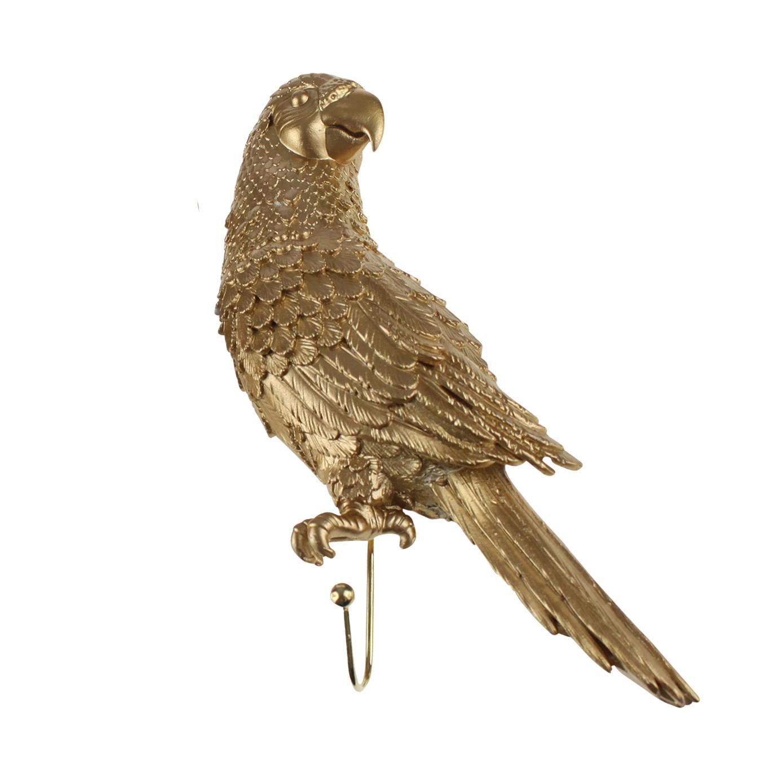 Gold parrot coat hook