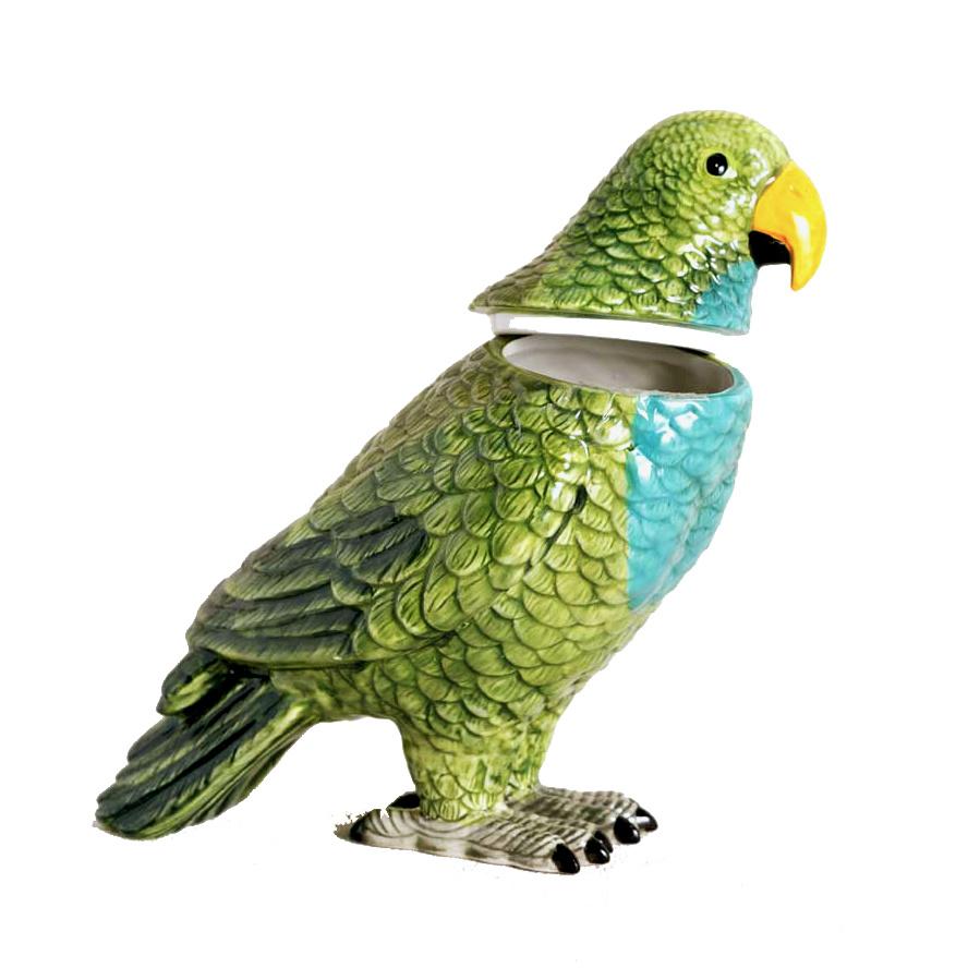 Papegaai box van keramiek