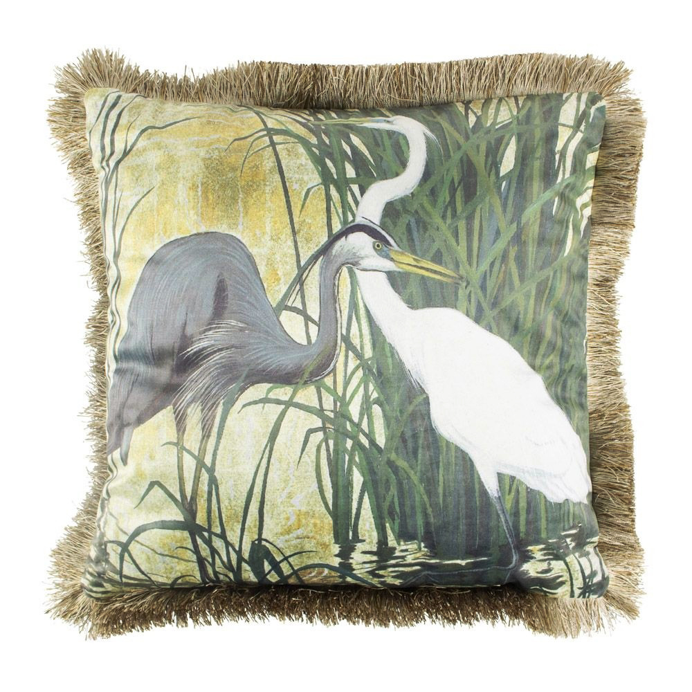 Velvet cushion with heron print and fringes