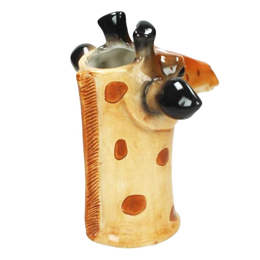 Vaas van keramiek in de vorm van een giraffe