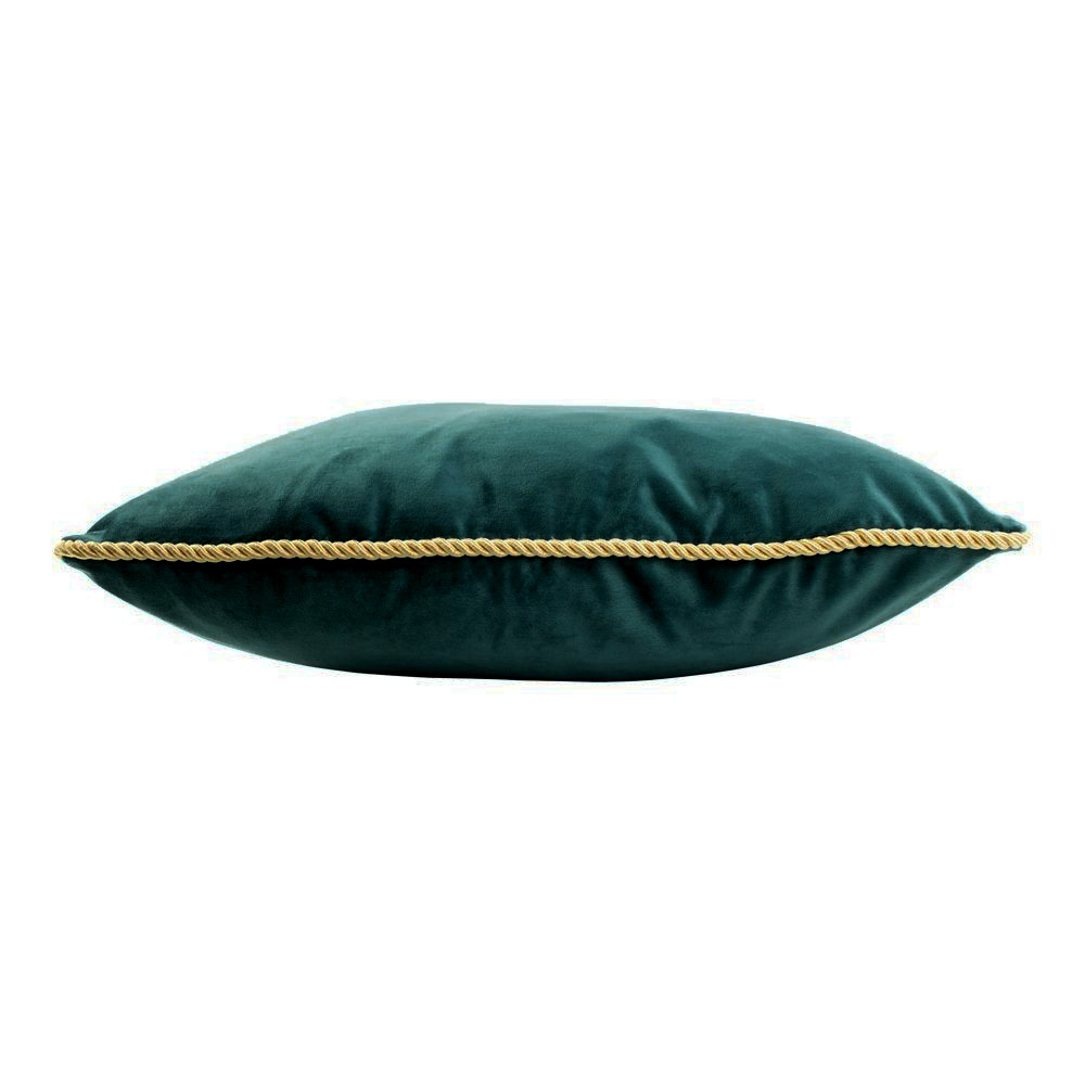 Petrol velvet luxury cushion with gold piping