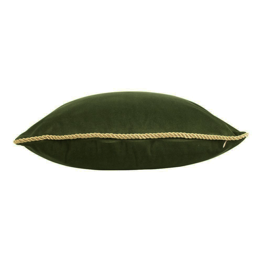 Olive green velvet luxury cushion with gold piping