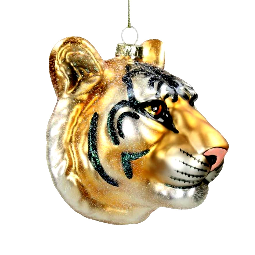 Quirky glass tiger head christmas tree ornament