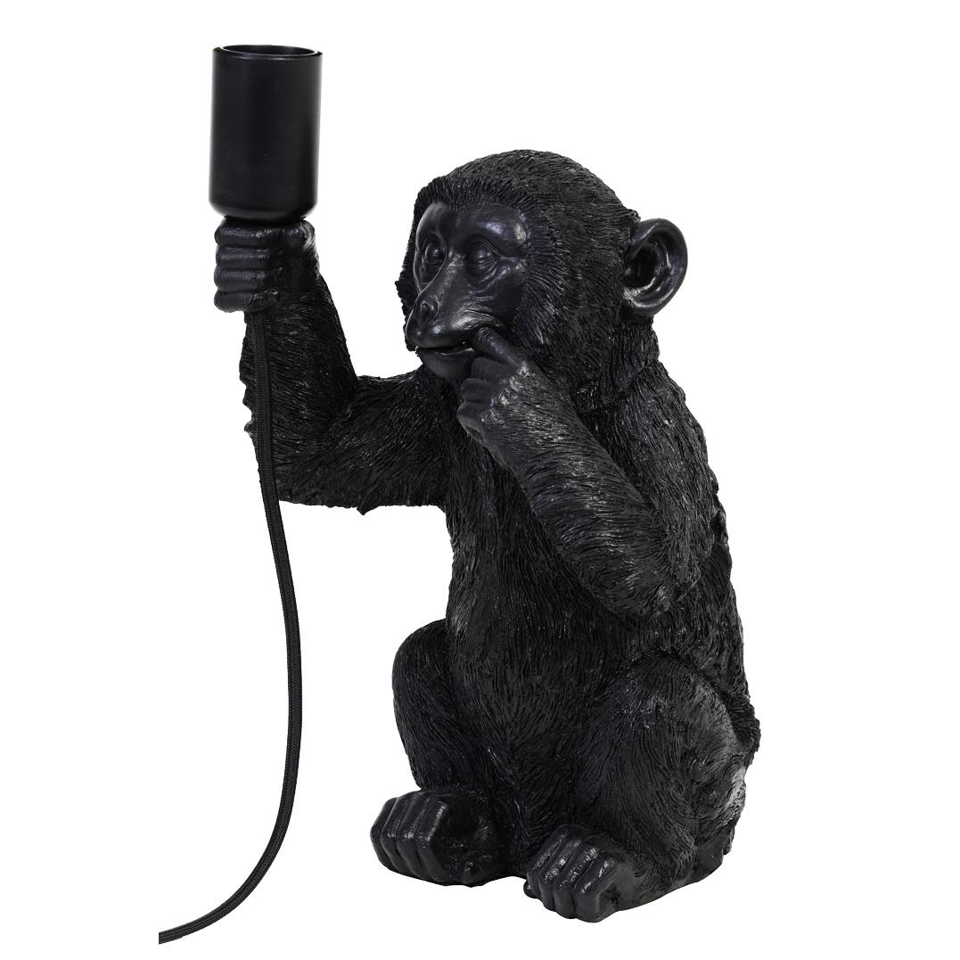 Zwarte design tafellamp in de vorm van een aap
