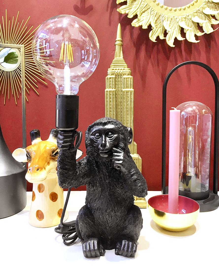 Black monkey table lamp