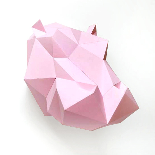 Pink paper diy hippo trophy