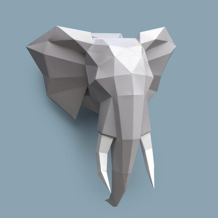 Grijs papieren olifant dierenhoofd om te knutselen