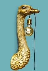 Gouden struisvogel wandlamp