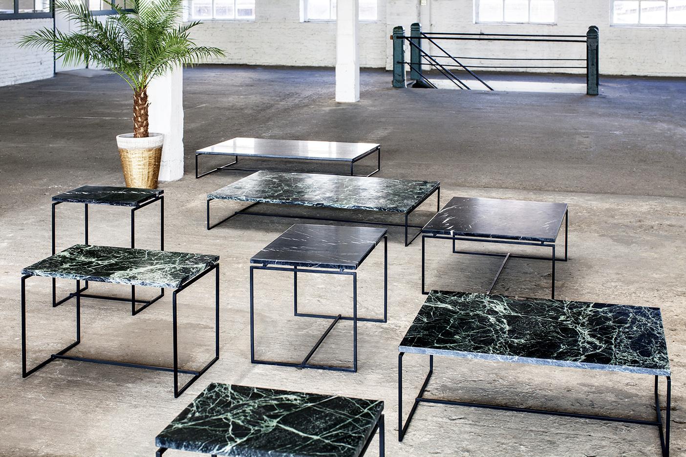 Moderne strakke design salontafel van groen marmer