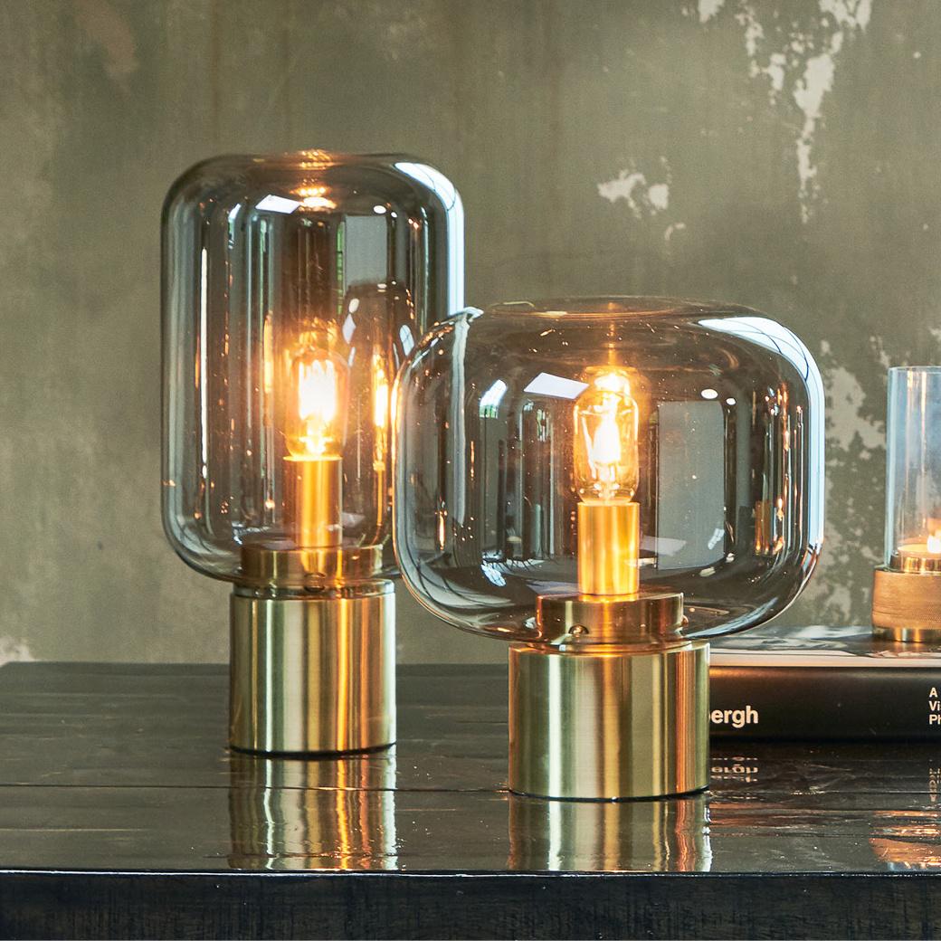 "Design tafellamp ""Ninko"" van rookglas"