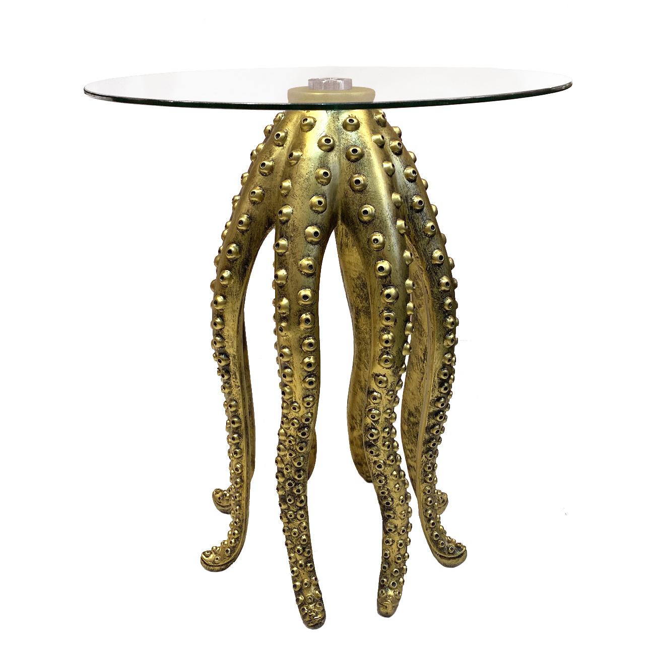 Gouden bijzettafel in de vorm van een octopus
