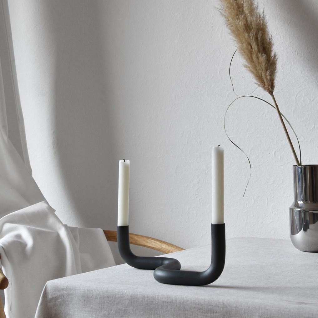 """Modern design candle holder """"Bend"""" in grey"""