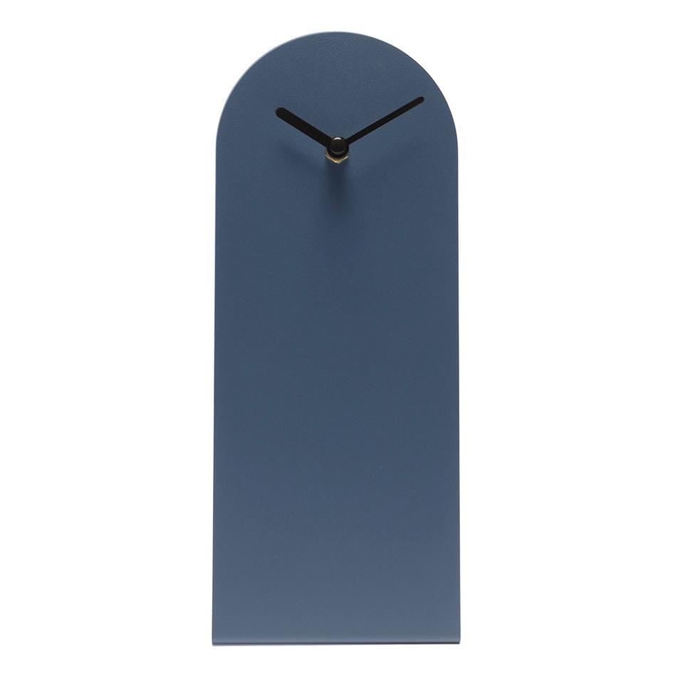 Strakke design tafelklok van blauw metaal