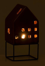 Brown ceramic house tealight holder