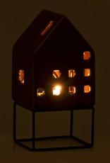 Huisje waxinelichthouder van bruin keramiek