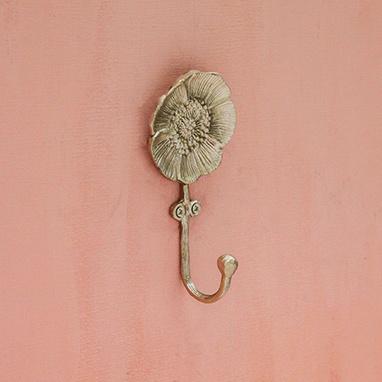 Gold metal poppy coat hook