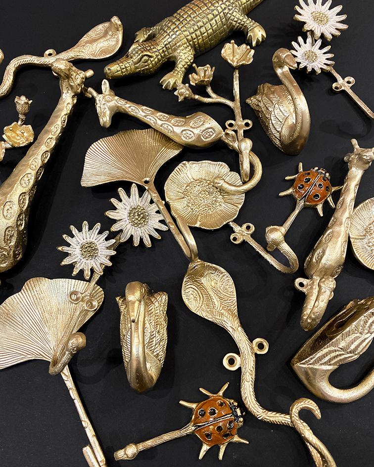 Gold metal snake coat hook