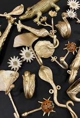 Gold metal giraffe coat hook