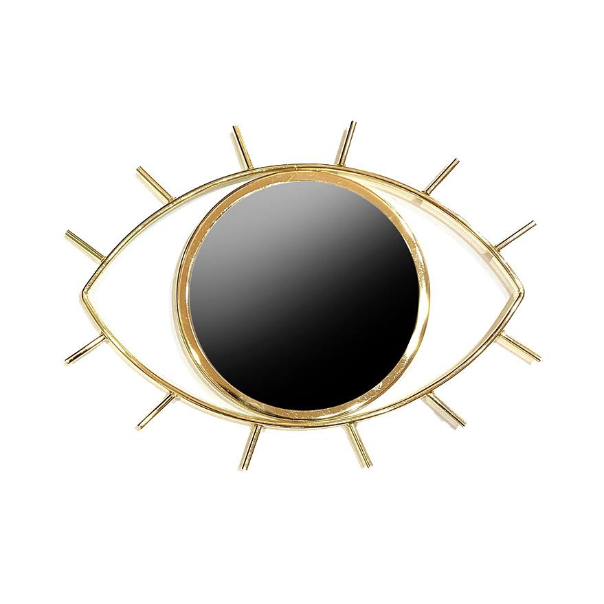 Gold metal eye shaped mirror
