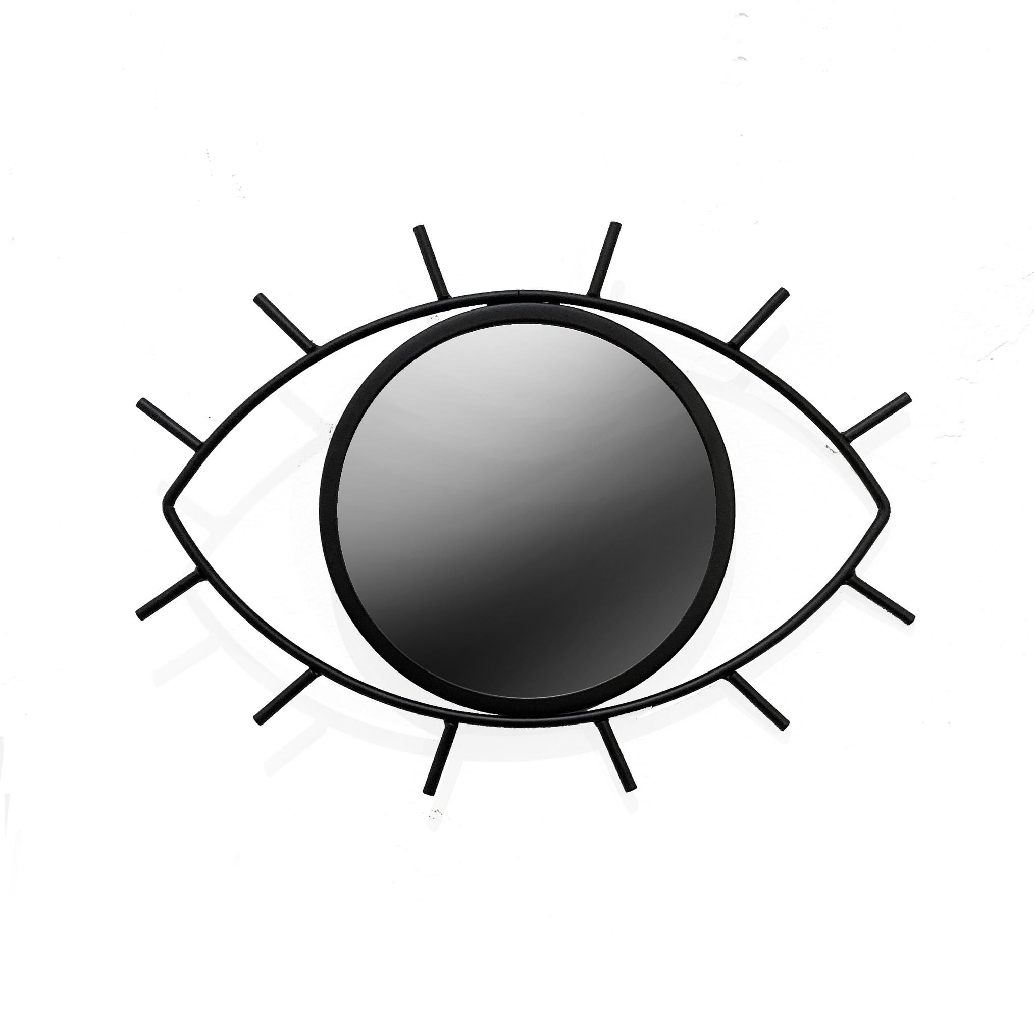 Black metal eye shaped mirror