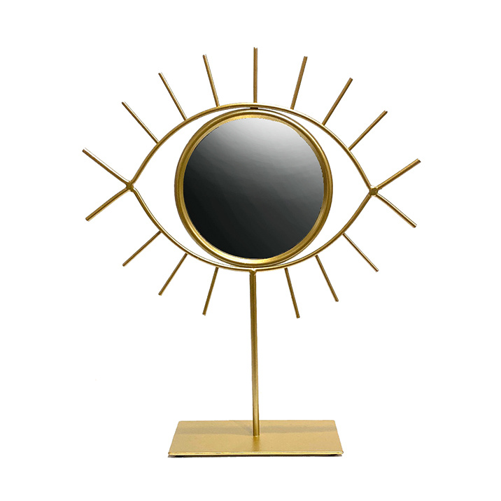 Gold metal eye shaped table mirror
