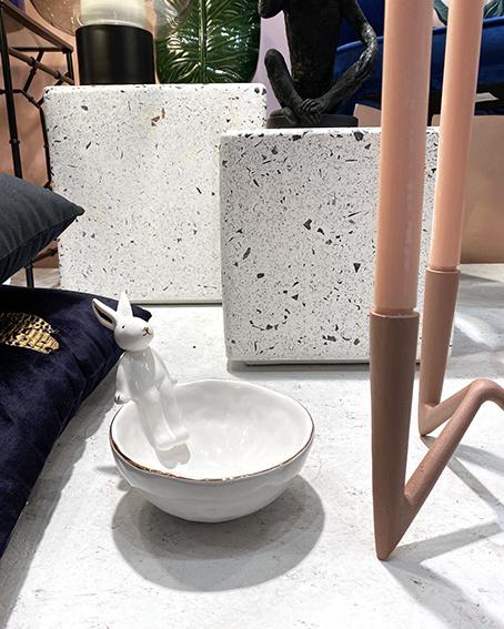 White bowl with rabbit decoration