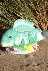 Voorraadpot van keramiek in de vorm van een vis