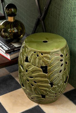 "Green ceramic stool or side table ""Tropical"""