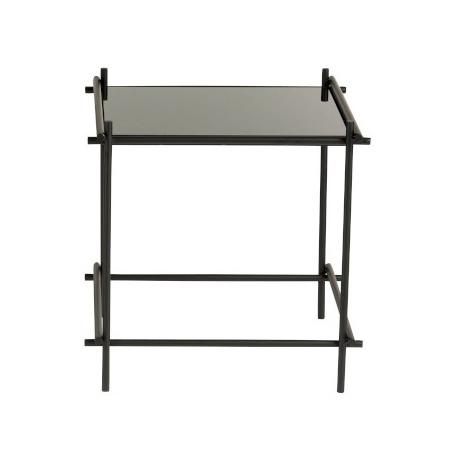 """Design bijzettafel """"Nikko"""" van zwart glas en metaal"""