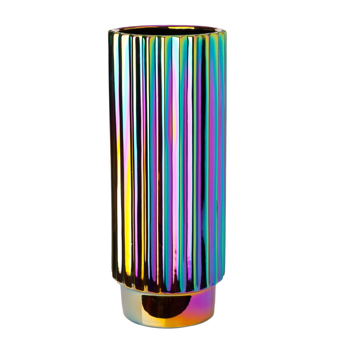 """Design vaas van keramiek """"Oily"""" met regenboog effect"""