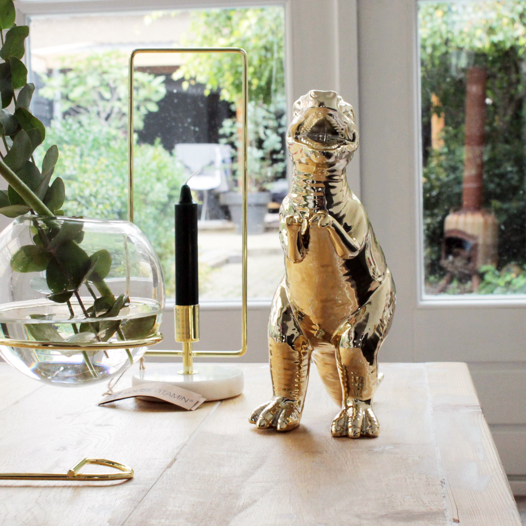 Gold T-rex dino planter