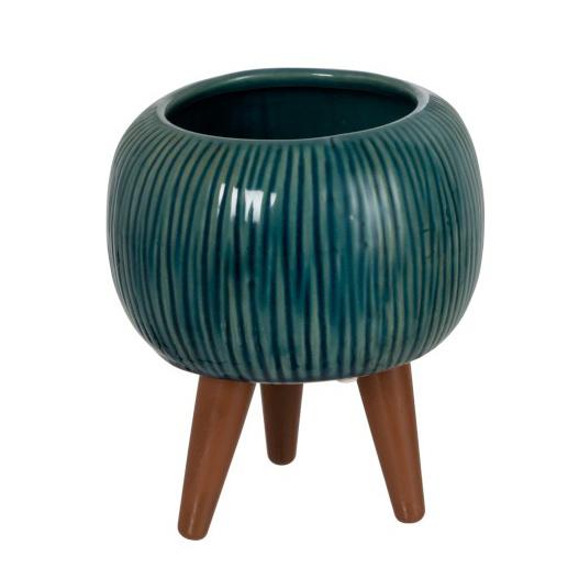 Keramiek bloempot op houten poten