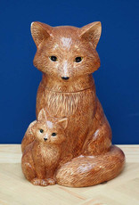 Ceramic fox container with lid