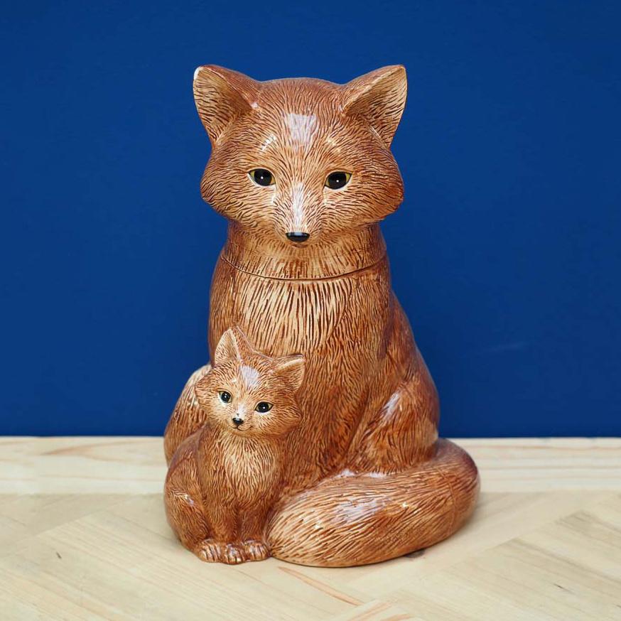 Voorraadpot van keramiek in de vorm van een vos