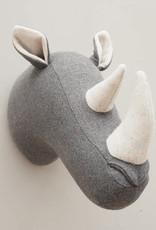 Neushoorn dierenkop van vilt voor aan de muur