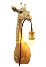 Gold giraffe head wall light