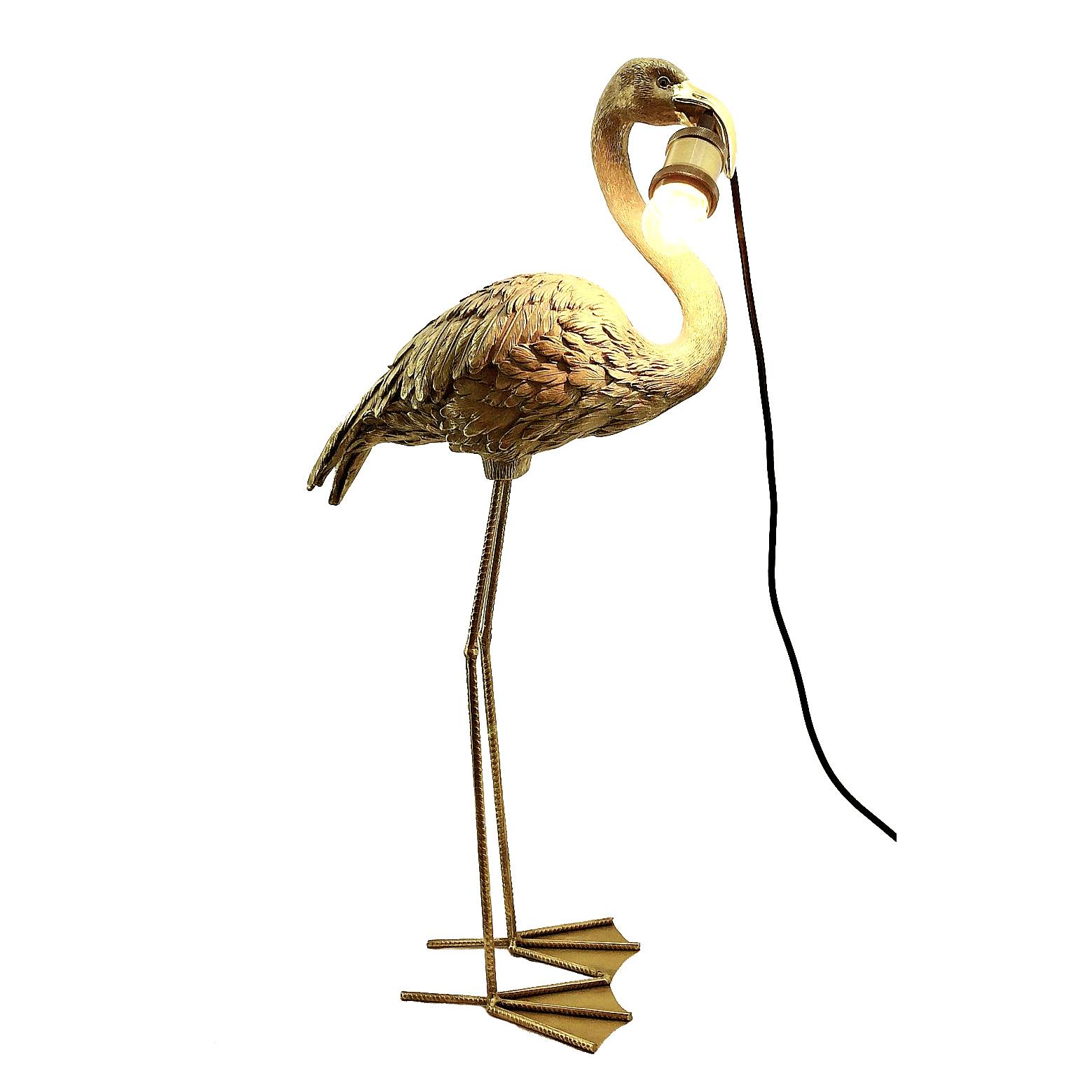 Gouden flamingo tafellamp