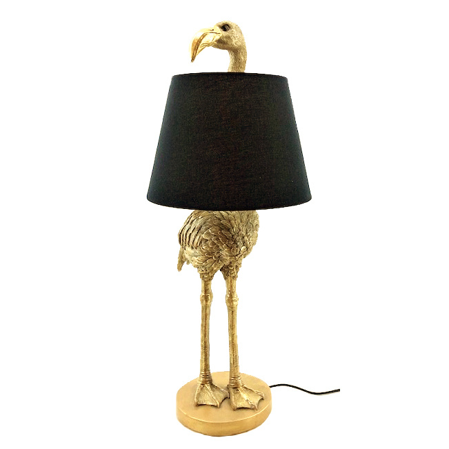 Gold flamingo table lamp with lampshade