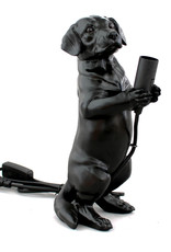 Black dachshund puppy table lamp