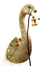 Gold swan bird wall light